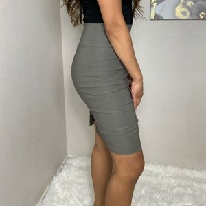 Gray Pencil Midi Skirt